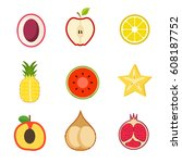 fruits vector set | Shutterstock .eps vector #608187752