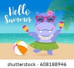cute hippopotamus dancing on...   Shutterstock .eps vector #608188946