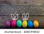 colorful funny easter egg on... | Shutterstock . vector #608194832