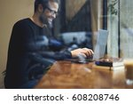 smiling bearded entrepreneur... | Shutterstock . vector #608208746
