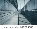 urban chain link fence walkway. ... | Shutterstock . vector #608215805