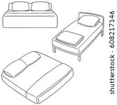 vector set of bed | Shutterstock .eps vector #608217146