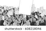 Line Art Illustration Of Crowd...
