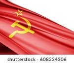 ussr  flag of silk with... | Shutterstock . vector #608234306