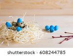 easter composition of quail... | Shutterstock . vector #608244785