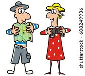 man and lady  tourist  vector... | Shutterstock .eps vector #608249936