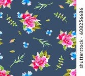 watercolor floral botanical... | Shutterstock . vector #608256686