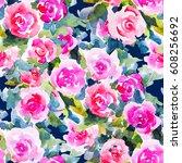 watercolor floral botanical... | Shutterstock . vector #608256692