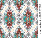 hand drawn vector ethnic... | Shutterstock .eps vector #608257532