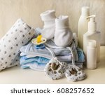 set of accessories for baby... | Shutterstock . vector #608257652