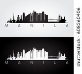 manila skyline and landmarks... | Shutterstock .eps vector #608260406
