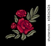 red flowers. roses. embroidery. ... | Shutterstock .eps vector #608262626