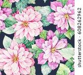 watercolor floral botanical... | Shutterstock . vector #608262962