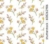 watercolor floral botanical... | Shutterstock . vector #608262986