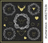 collection of hand drawn floral ... | Shutterstock .eps vector #608275136