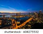 cityscape of singapore city...   Shutterstock . vector #608275532