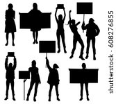 collection of silhouette of... | Shutterstock .eps vector #608276855