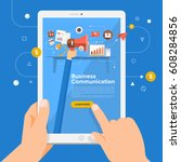 flat design concept learning... | Shutterstock .eps vector #608284856
