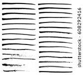 set of black ink strokes ... | Shutterstock .eps vector #608292416