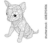 adult coloring page book dog.... | Shutterstock .eps vector #608293406