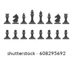silhouettes of chess pieces.... | Shutterstock .eps vector #608295692