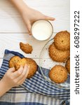 sesame biscuits with milk for... | Shutterstock . vector #608297222