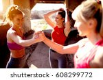 young attractive females before ... | Shutterstock . vector #608299772