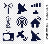 antenna icons set. set of 9... | Shutterstock .eps vector #608303876