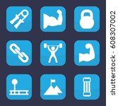 strength icon. set of 9 filled... | Shutterstock .eps vector #608307002