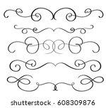 art calligraphy flourish of... | Shutterstock .eps vector #608309876