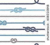 seamless marine pattern with... | Shutterstock .eps vector #608310848