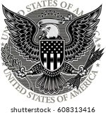 american eagle with usa flags | Shutterstock .eps vector #608313416