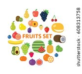 fruits and berries icon set.   Shutterstock .eps vector #608313758