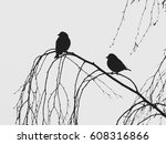 birds silhouettes on the branch ... | Shutterstock . vector #608316866