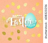 easter card with calligraphic... | Shutterstock .eps vector #608323256