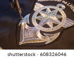machine chevron embroidery ... | Shutterstock . vector #608326046
