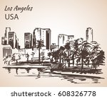 los angeles cityscape sketch.... | Shutterstock .eps vector #608326778