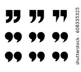quotes icon set. quotation mark ... | Shutterstock .eps vector #608335325