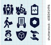 set of 9 insurance filled icons ... | Shutterstock .eps vector #608341496