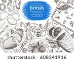british cuisine top view frame. ... | Shutterstock .eps vector #608341916