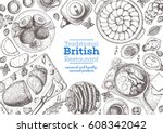 british cuisine top view frame. ... | Shutterstock .eps vector #608342042