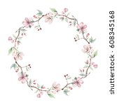 hand drawn watercolor spring... | Shutterstock . vector #608345168