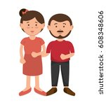 parent couple avatars characters | Shutterstock .eps vector #608348606