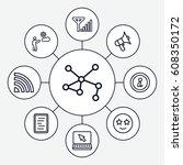 internet icons set. set of 9... | Shutterstock .eps vector #608350172