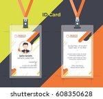 creative id card orange yellow... | Shutterstock .eps vector #608350628