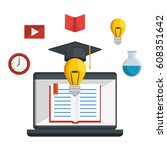 education online concept icons | Shutterstock .eps vector #608351642