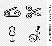 tailor icons set. set of 4... | Shutterstock .eps vector #608354756
