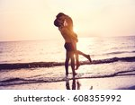 couple in love having romantic... | Shutterstock . vector #608355992