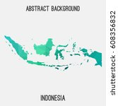 indonesia map in geometric... | Shutterstock .eps vector #608356832