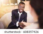happy african american... | Shutterstock . vector #608357426